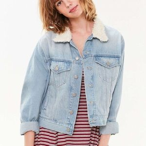 Urban Outfitters Sherpa collar denim jacket